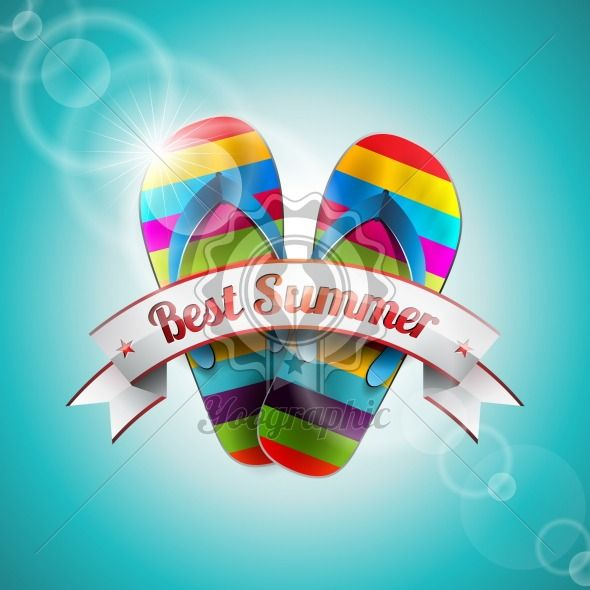 Vector Summer Holiday Design with slipper and ribbon on blue sea background. Eps10 illustration. - Royalty Free Vector Illustration