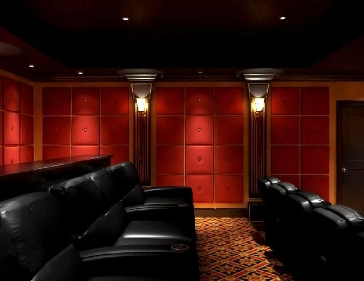 Classic Red Black And Gold Home Theater Cinema Seating Leather Sconce Lighting Paneling Soundproof Home Theater Rooms Home Home Theater Design