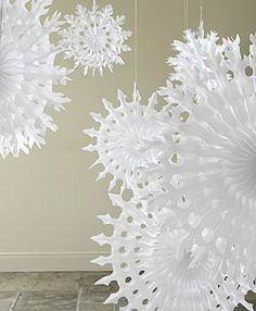 Big white paper snowflakes
