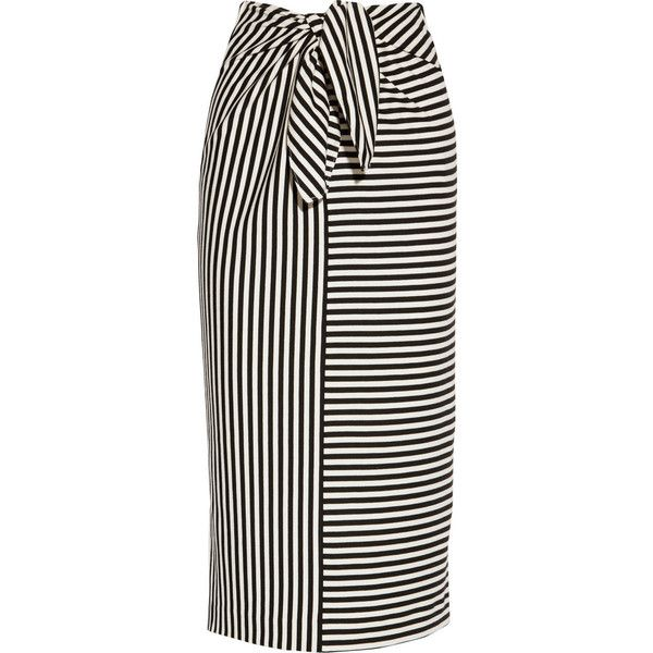 Tibi Ren striped cotton-blend jersey skirt (€195) ❤ liked on Polyvore featuring skirts, bottoms, tibi, saias, black, cotton jersey skirt, midi skirt, cotton jersey, calf length skirts and tibi skirt