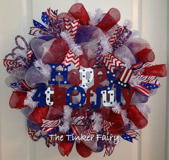 4th of July Patriotic Deco Mesh Wreath by TheTinkerFairyShop, $89.00