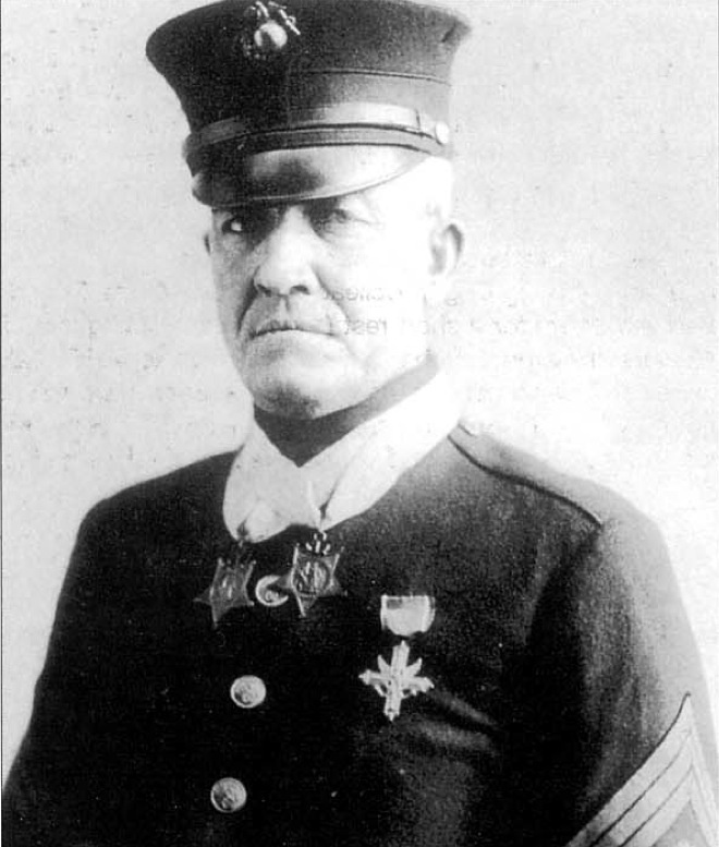 """First Sergeant Dan Daly, 73rd Machine Gun Company, 3rd Battalion, 6th Marines at the Battle of Belleau Wood, Chateau Thierry, France 1918. Dual Medal of Honor recipient, Navy Cross, Distinguished Service Cross. Famous for having supposedly made the statement """"Come on, you sons of bitches, do you want to live forever?"""" during the Battle of Belleau Wood to motivate his men to fight."""