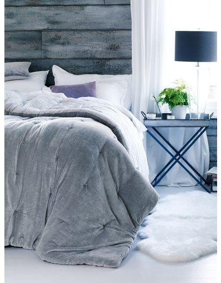 Dove grey velvet and linen quilt cox and cox interiors for Grey velvet comforter