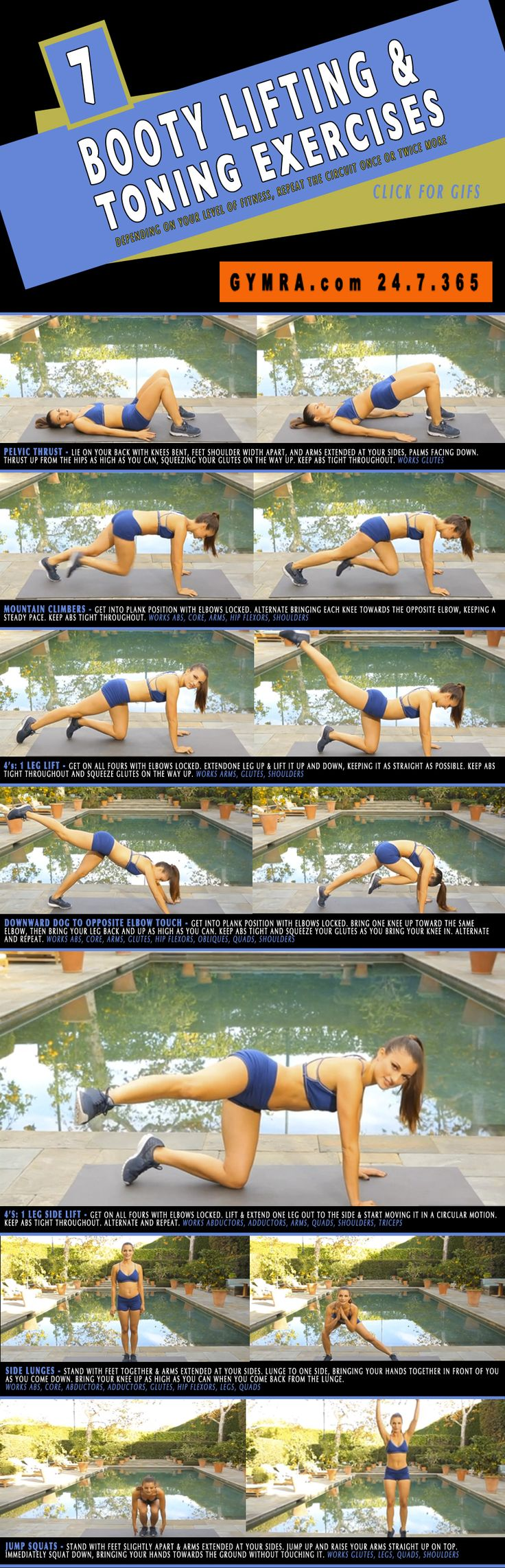 Lift shape your #butt with this toning #workout. Click to see the exericses in GIF form. #fitness #exercise #weightloss #health