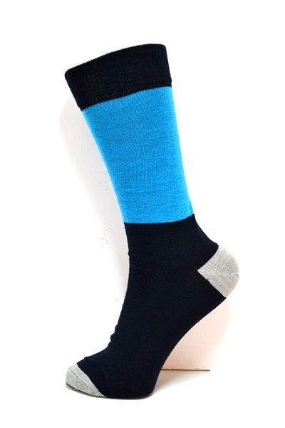 Mens Pattern socks. Navy & Turquois square detail. Grey heel & toe areas. #socksforafrica #thesockilove #sil