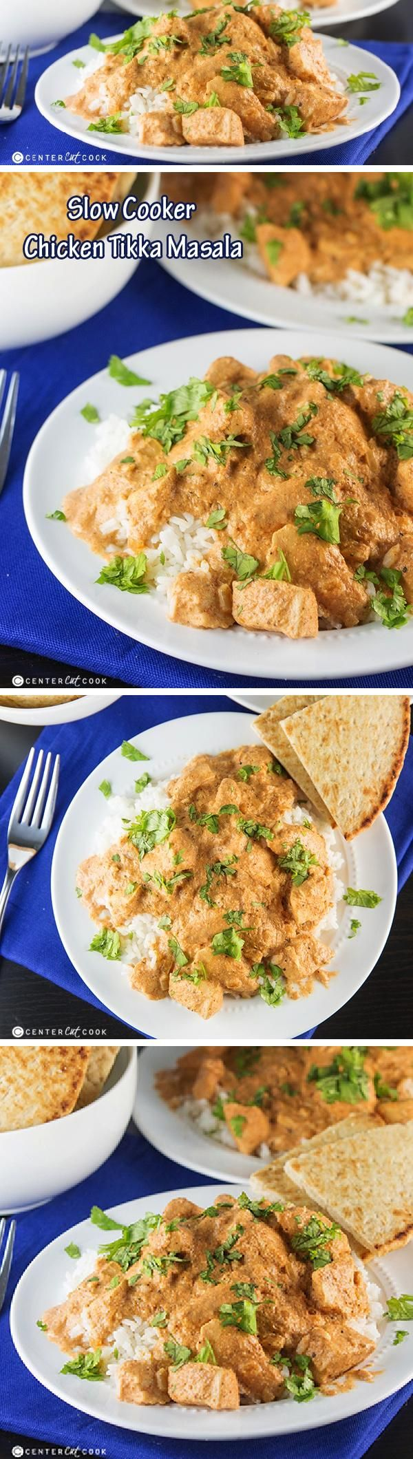 SLOW COOKER Chicken TIKKA MASALA with chunks of chicken in a spicy, creamy sauce made right in the crock pot! Typically a popular dish found in Indian restaurants, this is an easy recipe that requires very minimal effort and tastes delicious!