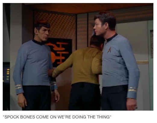 TV Shows Summed Up In One Picture... Were doing the thing... Spock: Kirk, this is highly illogical. Jim: I'm gonna do the thing. Bones open the space hatch. Bones: I'm a doctor Jim not a ***** space technician!!