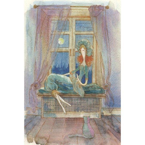 Princess dreams. Dreams under the Moon. - Postcards, Watercolor
