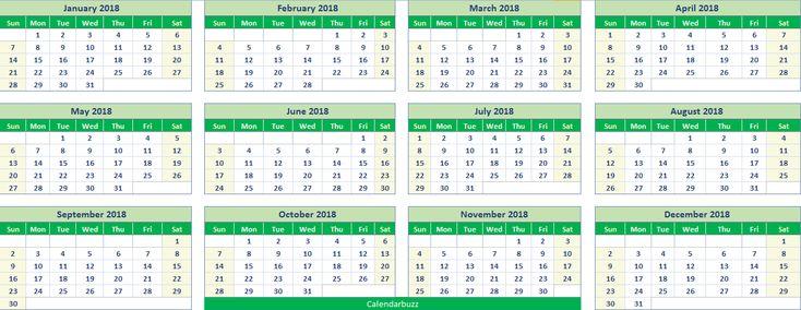 Excel 2018 calendar printable templates in xlxs spreadsheet format