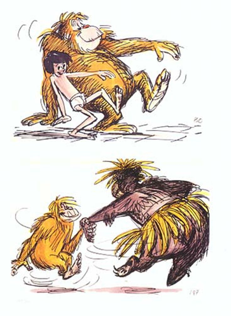 Ken Anderson's storyboards featuring King Louie from Walt Disney's The Jungle Book (1967).