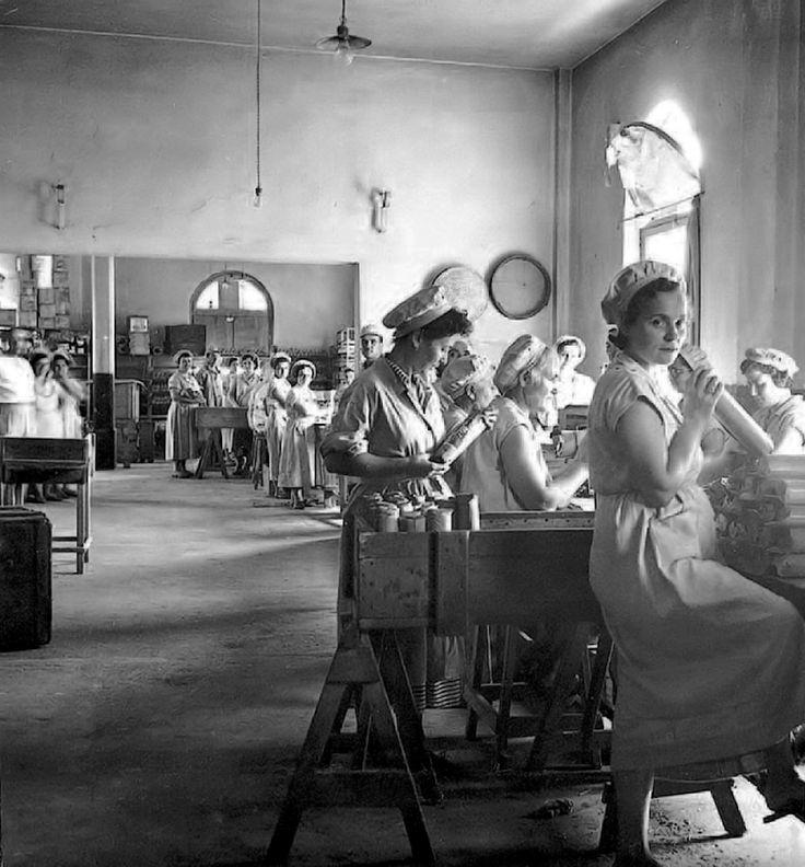 Σε ένα από τα παλιότερα εργοστάσια ζυμαρικών, την ΑΒΕΖ, οι εργάτριες συσκευάζουν τα μακαρόνια με τα χέρια. πηγή: Αρχείο οικογένειας Μήκα