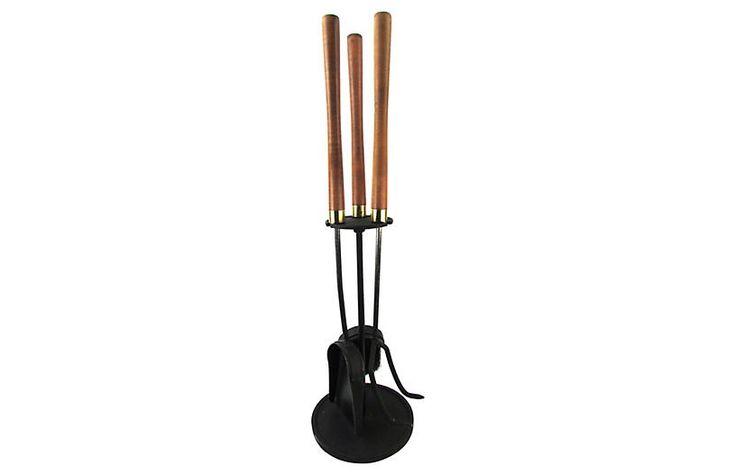 Danish Modern Fireplace Tool Set, 4 pcs $295.00