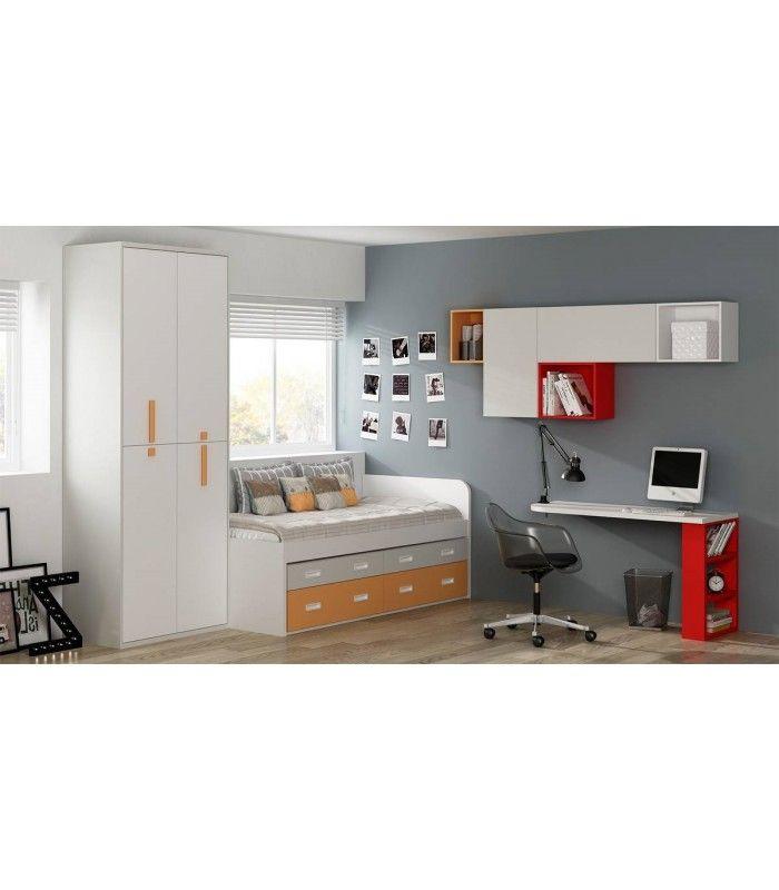 Mi habitación, concama compacta con 4 cajones imitando a un sofá, mesa volada, módulos de colgar y armario ropero.