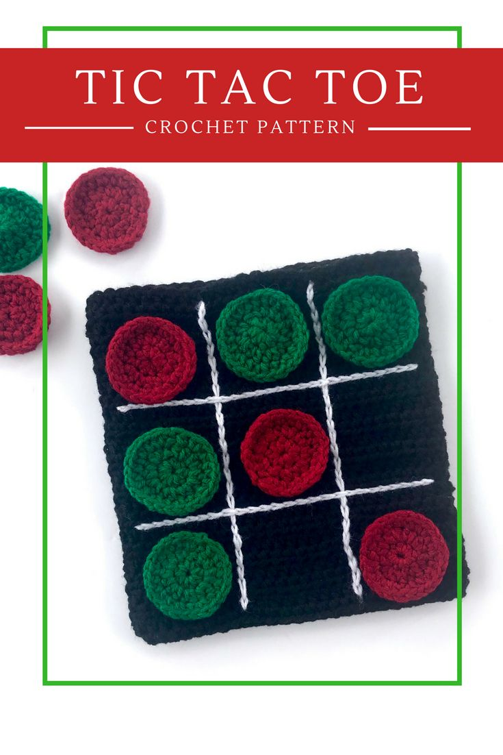 Tic Tac Toe crochet pattern - Travel Game Board - by Little Monkeys Designs. Looking for a fun crochet pattern to work up for the holidays - or for that long road trip - or visit at Grandma's. Check out my Tic Tac Toe travel board game. https://littlemonkeysdesigns.com/product/tic-tac-toe-travel-board-game-crochet-pattern/