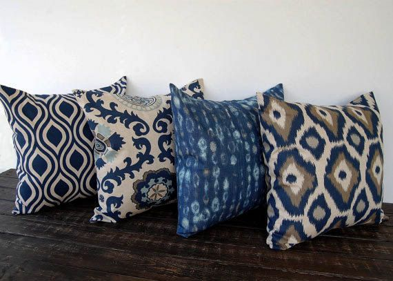 Navy Blue and Beige pillow cover one navy and oatmeal batik