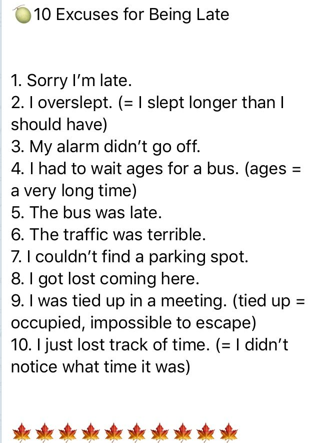 10 Excuse For Being Late In 2020 English Word Learn Personality Development Essay