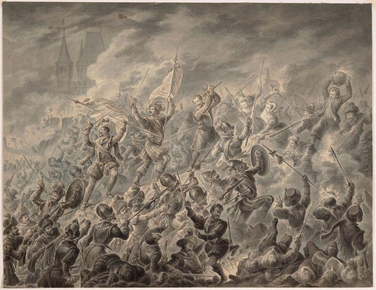 https://flic.kr/p/MMcC6g   Beleg van Alkmaar   Kitman met slagzwaard en een groep vrouwen bij de verdediging van Alkmaar tijdens de Spaanse stormloop op 18 september 1573. Voorstudie voor het grote belegschilderij van Hilverdink in het Stedelijk Museum