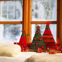 Weihnachtsdeko für die Fensterbank: Kleiner Winterwald