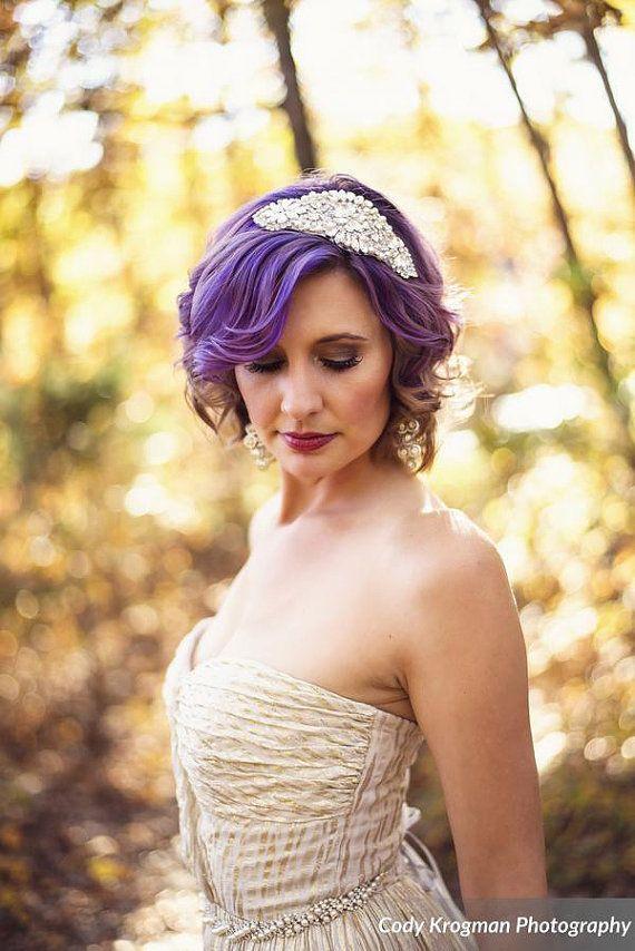 Pearl Crystal Bridal Headpiece Rhinestone Hair by GildedShadows