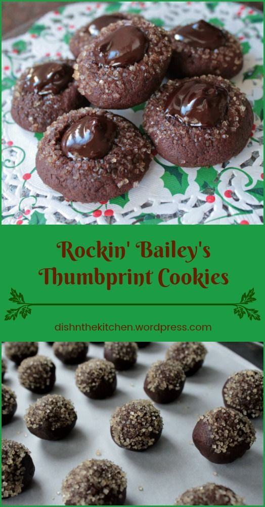 Everyone's favourite Chocolate Thumbprint Cookies with a Bailey's Irish Cream centre.