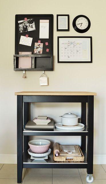 My Command Center: Ikea Stenstorp trolley in black. Luns chalkboard with calendar in frame. Kitchen organisation