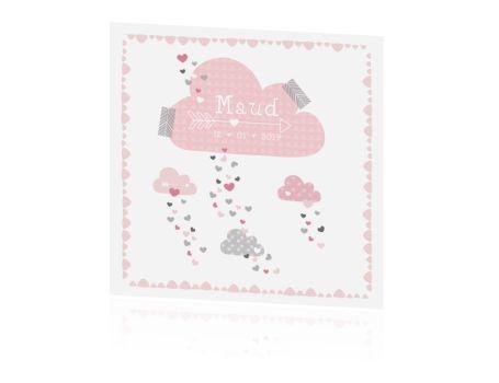 Roze wolken geboortekaartje met hartjes regen.  #geboortekaartje #baby #geboortekaart #birthannouncement #birthcard #zwanger #zwangerschap #jongen #meisje #babygirl #babyboy #wolkjes