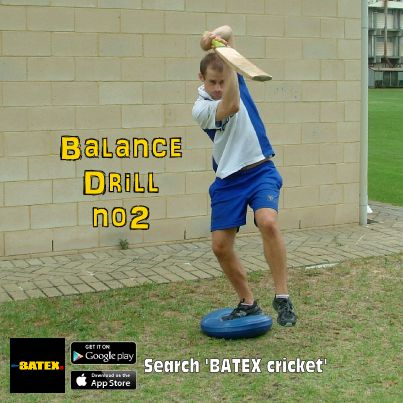 Balance drill No2: Play back foot drive onto balance pad, hold check shot for 5 s, repeat 5 times... make sure balance of weight going forward...