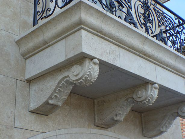 French limestone Lanvignes, balcony and corbels.General Contractor: RDM Construction