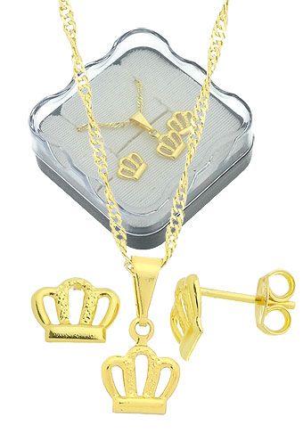 Conjunto folheado a ouro c/ corrente, brincos e pingente em forma de corôa (acompanha caixinha)