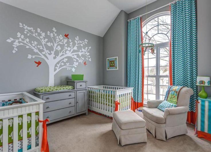 neutral twin baby room idea