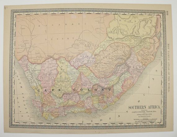 Antique Map 1800s South Africa Map 1889 NW Africa Map Algeria Morocco Map Tunisia Cape Colony Map Natal, African Decor Gift, Vintage Art Map available from OldMapsandPrints on Etsy