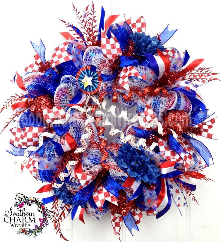 Deco Mesh Summer Patriotic Wreath Red White Blue Stripe July 4th Flower Door Wreath