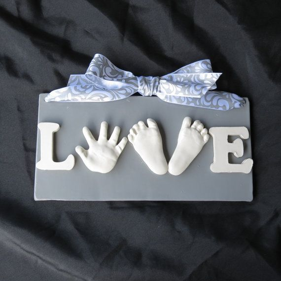 Child's Valentines Day LOVE-baby hand and double footprint OUTprint plaque