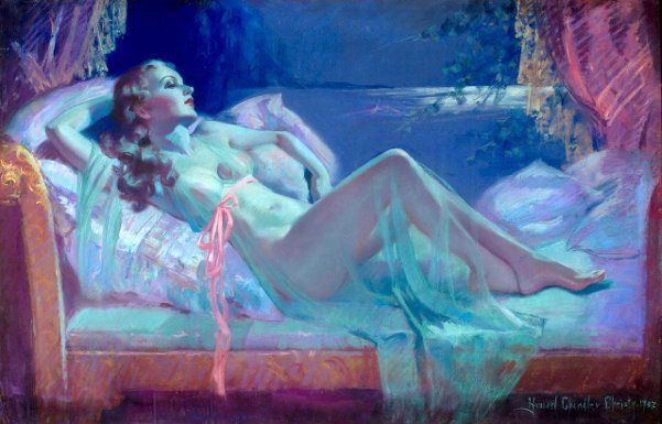 Reclining Nude In Lingerie