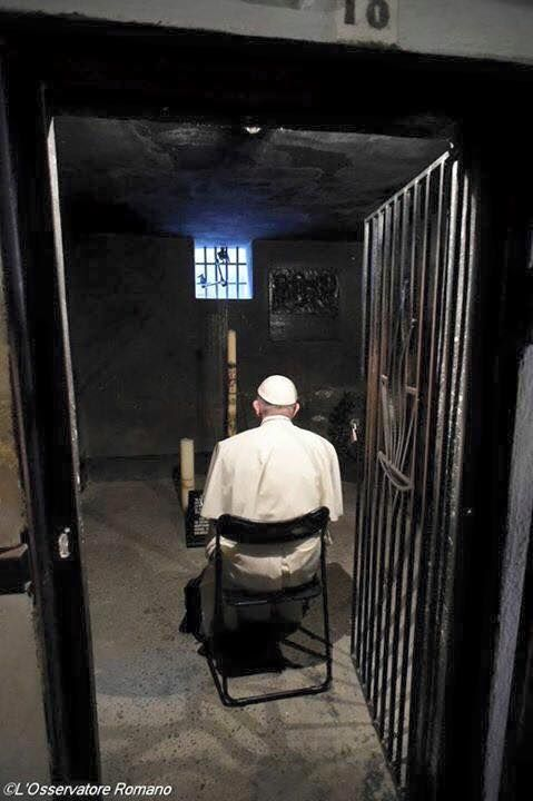 Pope Francis Prays in the Cell of St Maximillian Kolbe in the lager of Auschwitz