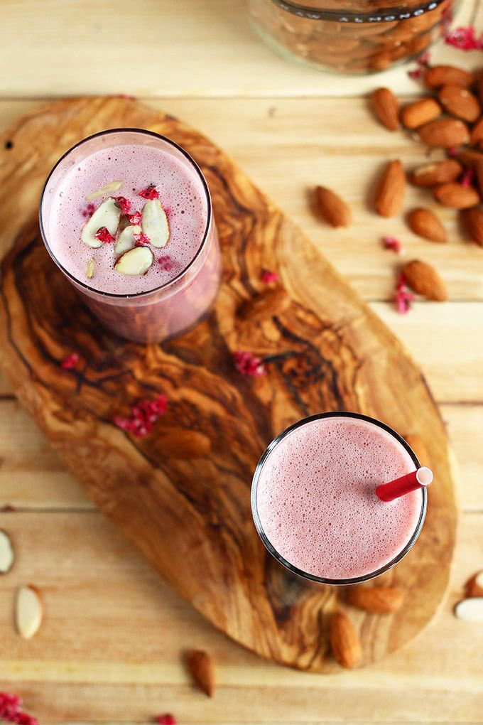 Raspberry Almond Milk (Ditch The Sugar, Don't Need It)