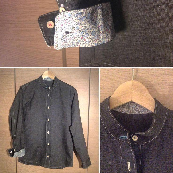 "weeklyanal3. ""ForYou"" #sewing #fabric #dressshirt #shirt #liberty #bandcollar #bandcollarshirt"