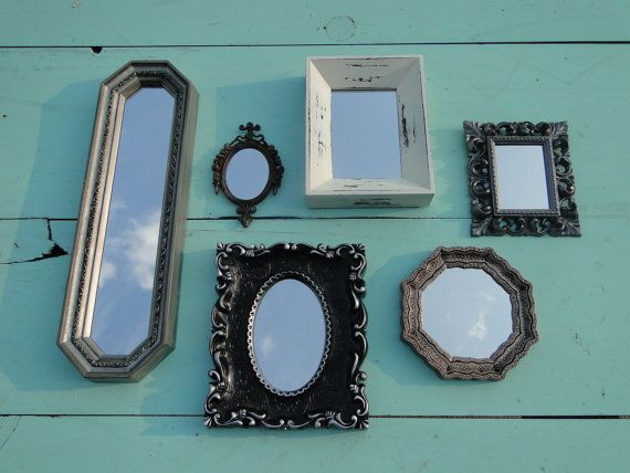 "Set of 6 Ornate Vintage Mirrors Wall Mirror Ornate Gilded Frame Hollywood Regency Paris Apartment French Gothic ""Metallic and Cream Mirrors"""