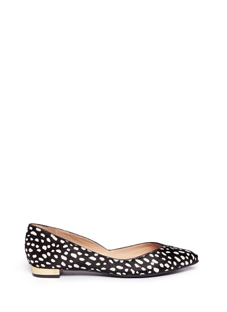 TORY BURCH - 'Nicki' metallic heel calf hair flats