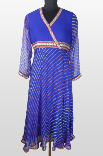 Kurti Pattern - Blue Lehariya Anarkali