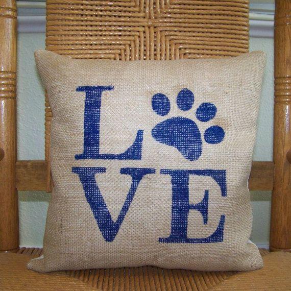 Love paw print pillow cover,Dog pillow, Burlap pillow, Pet Pillow Cover, stenciled pillow,  FREE SHIPPING!
