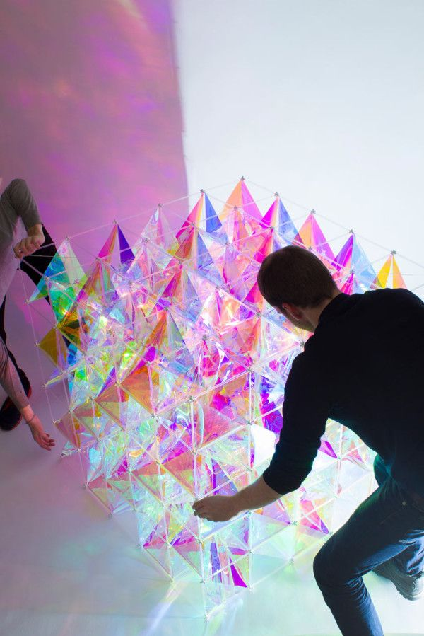 Sculptural, 3D kite radiating an iridescent colour spectrum - using 3M Dichroic  film