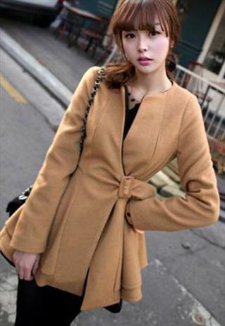 Beautiful Tan Colored Pleated Warm Coat