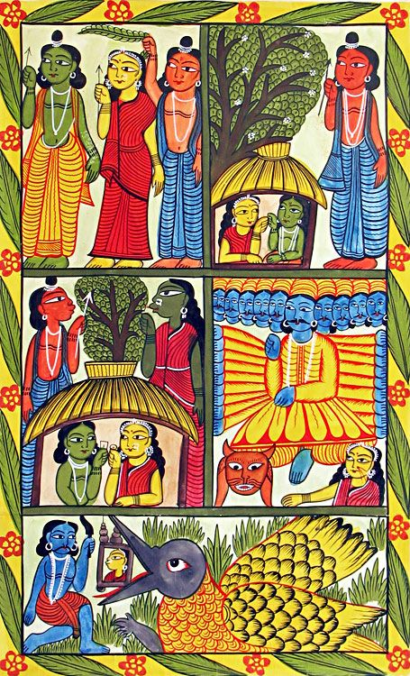 Patachitra, Bengal. pastimes and incarnations of krishna folk art style storyboard indian art