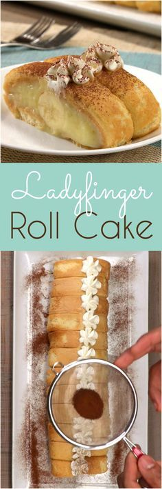 This no-bake roll cake looks exquisite but is easy to whip up with only six ingredients. The ladyfinger cookie crust is filled with creamy vanilla pudding and stuffed with a surprise banana. It's kinda like tiramisu, kinda like a Swiss roll, and kinda like a French charlotte — and yet this unique treat is like nothing you've ever made before.  Ladyfinger Roll Cake