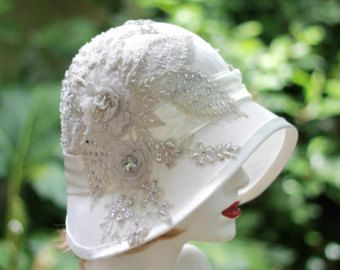 20s Vintage Style Cloche Flapper Wedding Hat in Silk by GailsHats