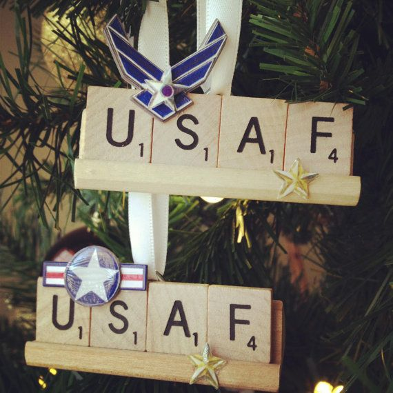 Military Scrabble Ornament, Air Force and Army on Etsy, $7.99