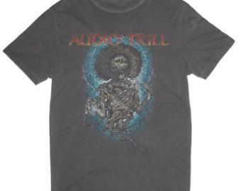 AUDIO TRILL rock skull tshirt vintage cut & sew design with blind stitch and modern neck cut.  Slightly distressed at the bottom and sleeves.