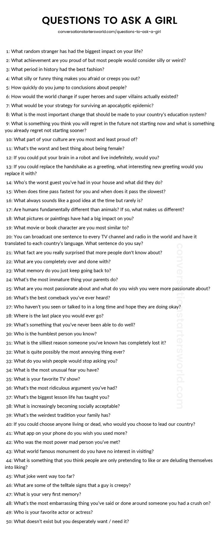 A list of great questions to ask a girl! Plus tips for asking each question on the site.