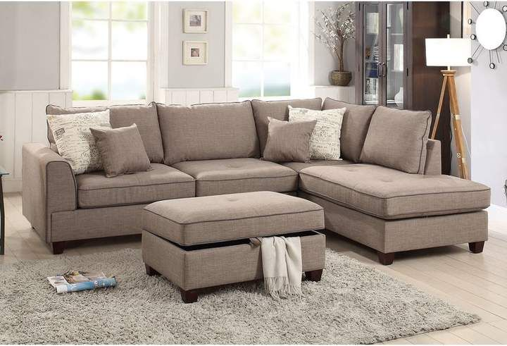 Laurèl Foundry Modern Farmhouse Malta Reversible Sectional with Ottoman